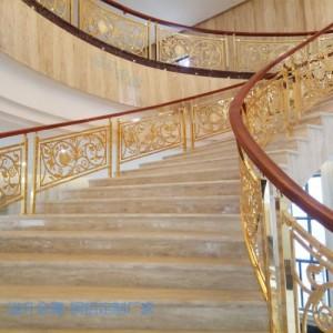 天门新中式镀金铜楼梯护栏除了美还是美