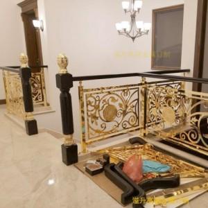 欧式镀金铜楼梯扶手 镀金铜楼梯护栏 铜楼梯栏杆款式新潮