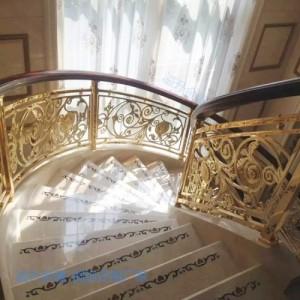 嘉禾订做镀金铜楼梯扶手 铜护栏 铜围栏厂家