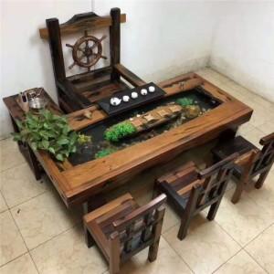 批发老船木茶桌椅组合霸气大龙骨茶台海螺孔茶台实木户外仿古家具