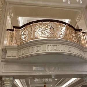 中式楼梯铜雕花护栏 欧式弧形k金铜艺扶手