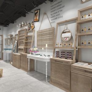 诸暨童装展柜木纹展示架厂家批发价 化妆品木质烤漆柜批发商现货
