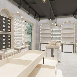 新昌童装展柜木纹展示架厂家批发价 超市货架展示柜产地直销