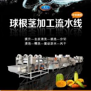中央厨房蔬菜清洗切割风干流水线设备球根茎蔬菜加工生产线可定做
