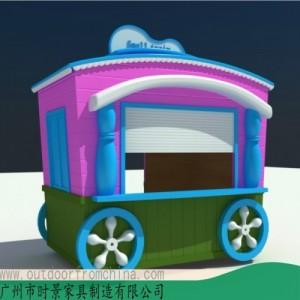 赣州商场创意小饰品售卖亭木制小吃水果贩卖车实木售货亭
