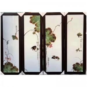 彩绘陶瓷装饰画山水花卉四条屏壁画复古中国风瓷板画定制