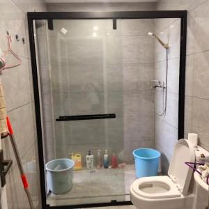 光明区双活开门玻璃隔断造型可选 一字型浴屏淋浴房卫浴设施