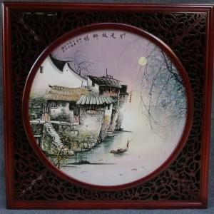 景德镇陶瓷瓷板画月是故乡明陶瓷摆件