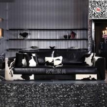 北欧设计师家具黑白色真皮沙