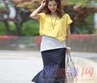 泉州韩国SZ女装批发夏装时尚3件套针织撞色连衣裙