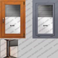 豪华型三玻百叶铝木复合窗厂家直销,三层中空玻璃带百叶铝木窗报