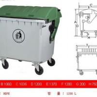 深圳环卫设施660L绿色环保垃圾桶