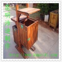 樟子松防腐木垃圾桶/碳化木垃圾桶/公园垃圾箱