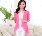 夏装新款时尚纯色镂空蕾丝拼接 纯色宽松中袖针织外套