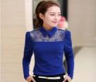 新款女装刺绣蕾丝拼接韩版小翻领长袖气质针织小衫