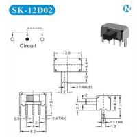 拨动开关SK-12D02  单排两档手电筒开关