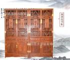 厂家直销实木家具 书架 书桌书柜组合 四季花书橱 刺猬紫檀