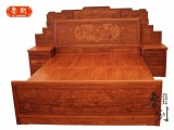 缅甸花梨床卧室古典红木家具组合花梨木1.8米双人床大果紫檀