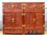 老挝大红酸枝顶箱柜 大红酸枝木衣柜衣橱 王义酸枝木卧室家具