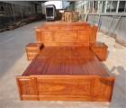 东阳红木家具刺猬紫檀材质的财源滚滚大床