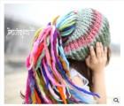 【针织帽子】新款彩色条毛线帽马尾混色帽子女拼色超个性针织帽子冬季保暖帽