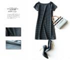 【圆领连衣裙】015夏欧洲站品牌新品条纹风尚进口针织面料圆领连衣裙