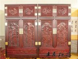 老挝大红酸枝顶箱柜 大红酸枝衣柜衣橱价格