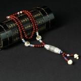 仙艺厂家直销精美印度小叶紫檀毛衣链佛珠手链 108颗佛珠批发