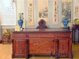 专业定制高端缅甸花梨书桌 大师精品 精雕实木书房系列