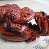 印度小叶紫檀手玩件雕件 钱袋金蟾檀香紫檀木手把件木雕工艺品
