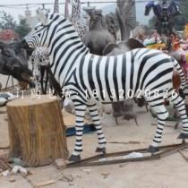 玻璃钢斑马雕塑,玻璃钢仿真动物雕塑
