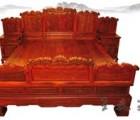 临沂老挝大红酸枝双人床  古典红木家具