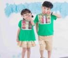 护岛宝贝幼儿园园服男女童新款奥戴尔针织拼接儿童夏季套装校服