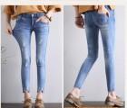 哪里有便宜女裤直筒牛仔裤批发棉弹女装加肥加大码女式牛仔长裤批