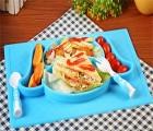 USSE/优仕儿童餐盘 卡通防滑一体式硅胶餐盘