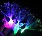 新奇特玩具发光孔雀戒指 光纤孔雀手指灯 闪光孔雀手指灯