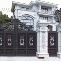 铸铝庭院大门 铝合金护栏围墙 别墅铝艺大门定制