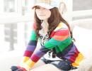 杭州2011新品女装韩版时尚针织衫彩色条纹小开衫