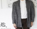 MOYIKEY原创男装,灰黑混色开衫v领针织长袖外套