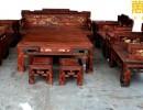 万盛宇 厂家直销 老挝大红酸枝 镶黄杨百鸟朝凤沙发 13件