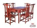 红酸枝餐桌 老红木餐桌 明式餐桌七件套