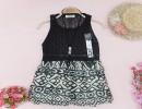 2014春装新款女装 潮流时尚圆领无袖绘图花色针织连衣裙