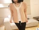 2014春季新款 日系修身V领纯色单排扣针织开衫薄外套