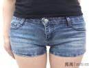 2014夏季新款韩版修身弹力高腰牛仔短裤女翻边大码显瘦热裤夏