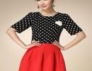 欧洲站中袖波点T恤上衣+红色半裙两件套