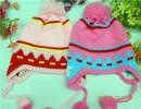义乌外贸原单儿童帽子针织帽子宝宝护耳帽子彩色条纹五角星帽