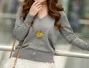 外贸针织开衫低价批发 韩版V领宽松女士针织衫开衫