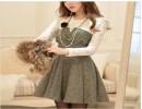 年秋冬新款韩靓丽公主裙蕾丝千鸟格裹胸长袖收腰假两件连衣裙