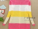 镂空初秋针织衫修身保暖中长款打底毛衣间条针织女装