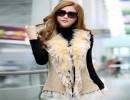 新款女士毛衣真兔毛领开衫坎肩针织长款蕾丝花边女款外套